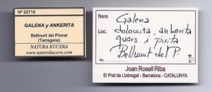 Etiquetes Galena Bellmunt del Priorat - El mineral del mes d'agost.