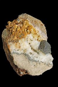Galena amb dolomita i pirita. Mina Règia, Bellmunt del Priorat, Tarragona. 8,2 x 10,5 cm. Cristall de 2,1 x 2,3 cm. Carles Manresa.